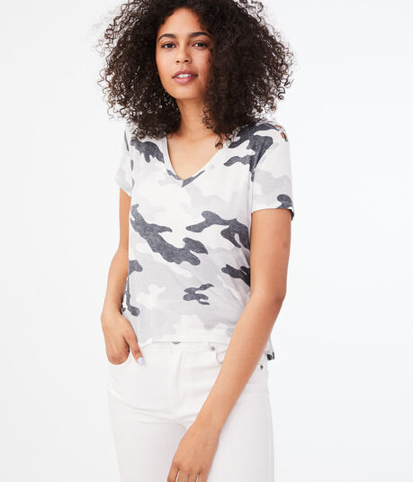 Seriously Soft Camo Strappy V-Neck Tee***