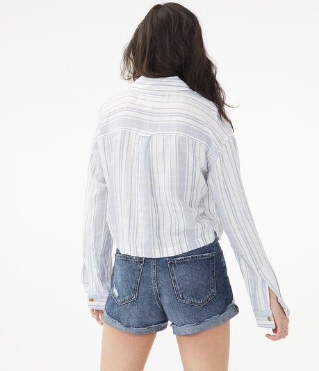 Long Sleeve Striped Cropped Button-Down Shirt