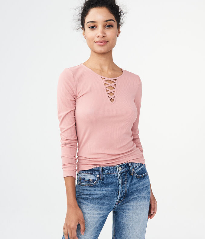 Long Sleeve Solid Lace-Up Ribbed Tee