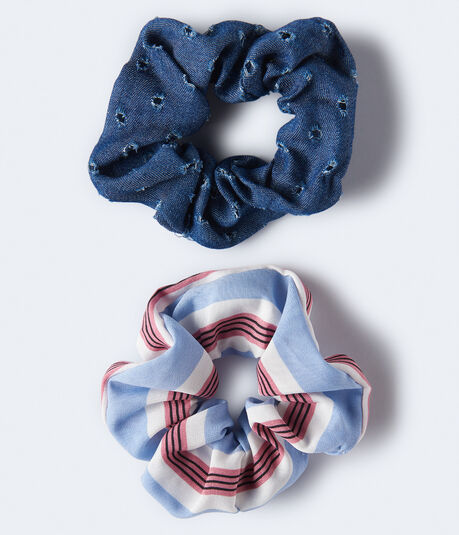 Distressed Denim & Striped Scrunchie 2-Pack