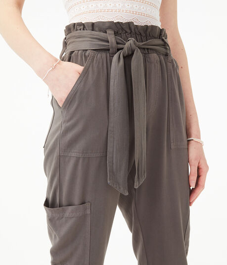 Tie-Front High-Rise Tapered Cargo Pants