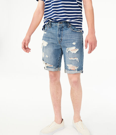 "Loose 10"" Denim Cutoff Shorts"