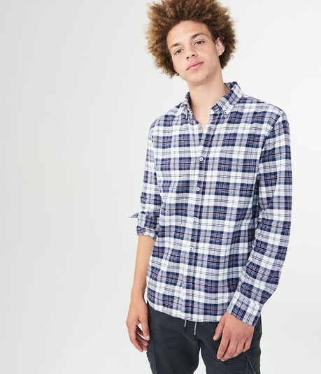 Long Sleeve Plaid Oxford Woven Shirt