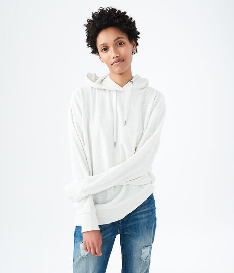 Oversized Velour Pullover Hoodie