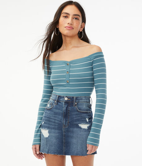 Long Sleeve Seriously Soft Striped Off-The-Shoulder Bodycon Henley