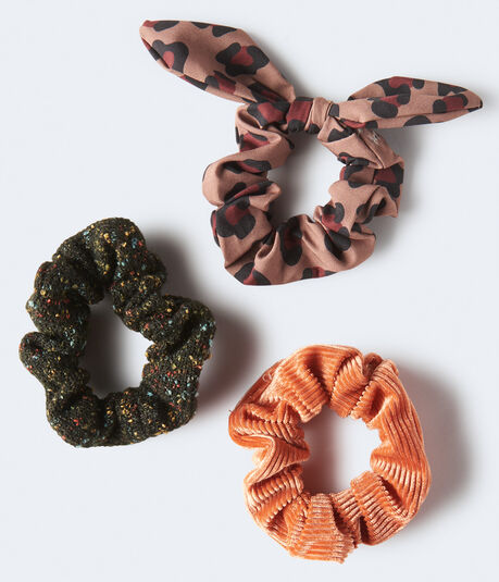 Animal Print Bow Scrunchie 3-Pack