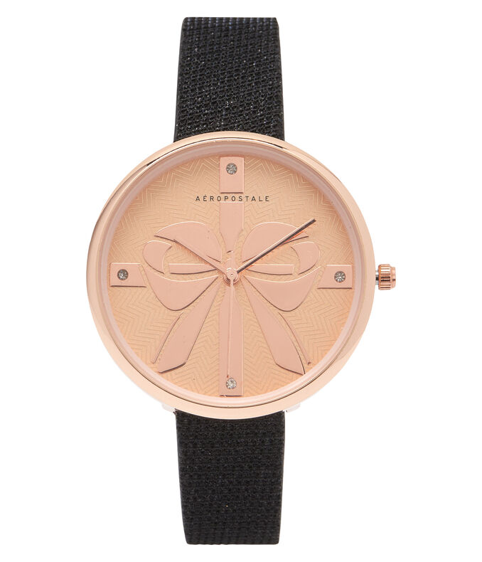 Faux Leather Brilliant Bow Analog Watch