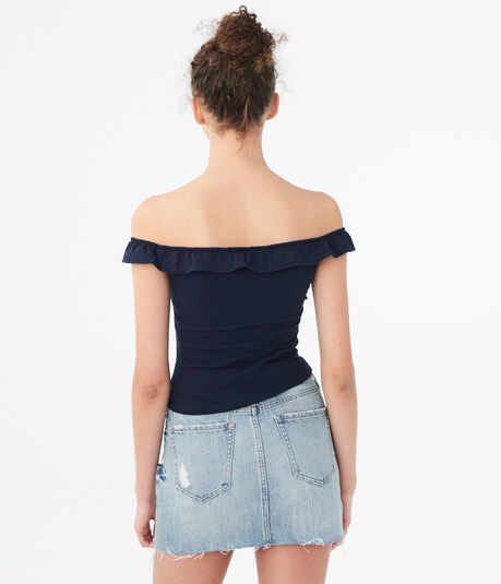 Solid Lace-Up Off-The-Shoulder Crop Top