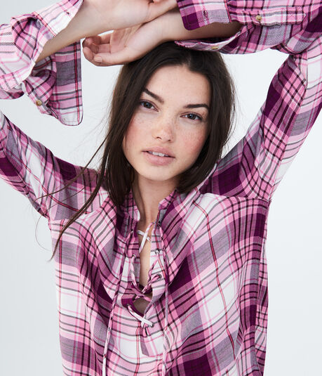 Long Sleeve Lace-Up Plaid Woven Shirt