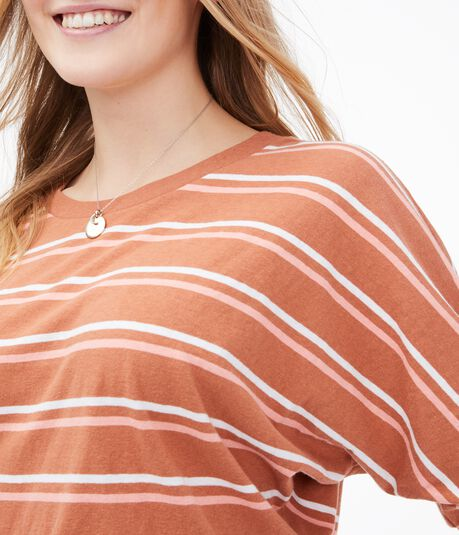 Striped Cropped Dolman Crew Tee