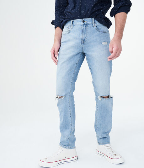 Skinny Light Wash Destroyed Stretch Jean
