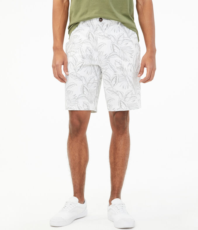 "Palm Leaves 9.5"" Stretch Chino Shorts"
