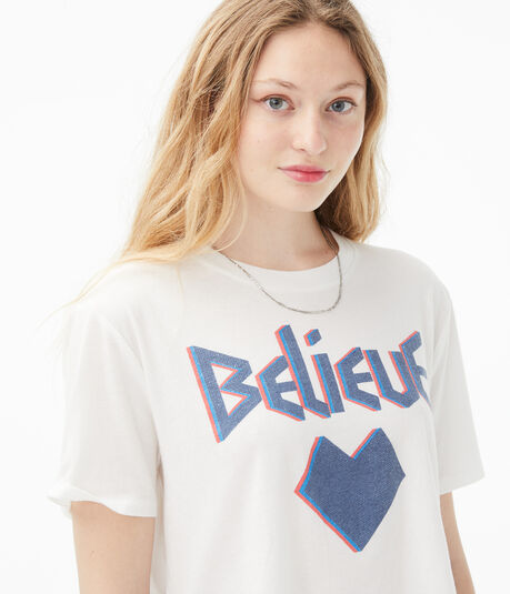 Believe Boxy Cropped Graphic Tee