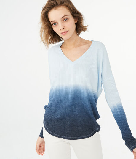 LLD Long Sleeve Dip-Dye V-Neck Thermal Tee