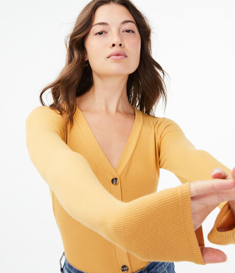 Seriously Soft Button-Front V-Neck Cardi Tee***