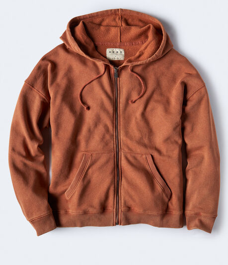 Mineral Wash Oversized Full-Zip Hoodie