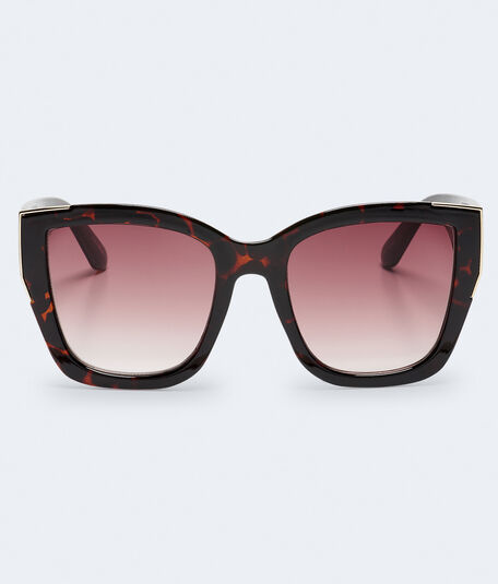 Oversized Metal-Tipped Cateye Sunglasses