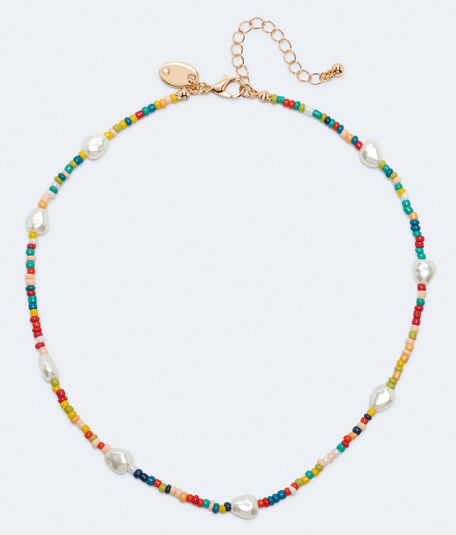 Faux Pearl & Seed Bead Necklace