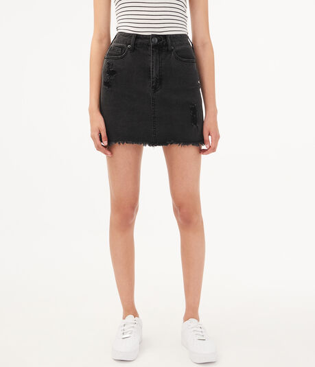 Real Denim High-Rise Black Wash Mini Skirt