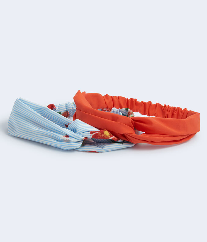 Striped Floral & Solid Headband 2-Pack