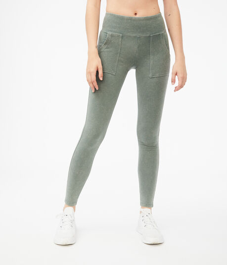 Acid Wash Patch Pocket Leggings
