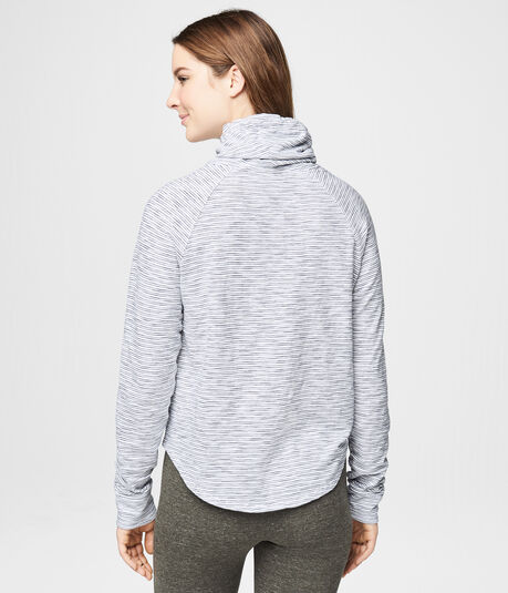 Long Sleeve Striped Cowl-Neck Top