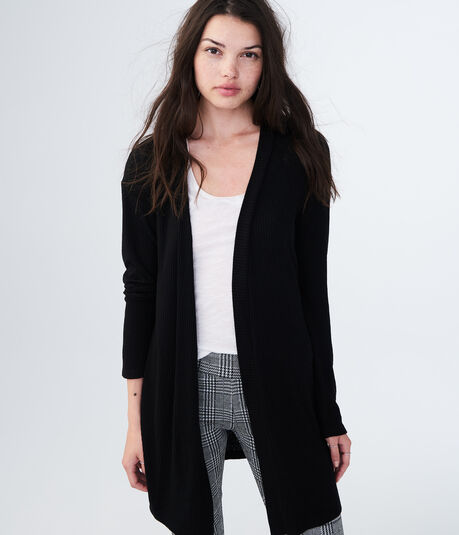 Solid Ribbed Cardigan