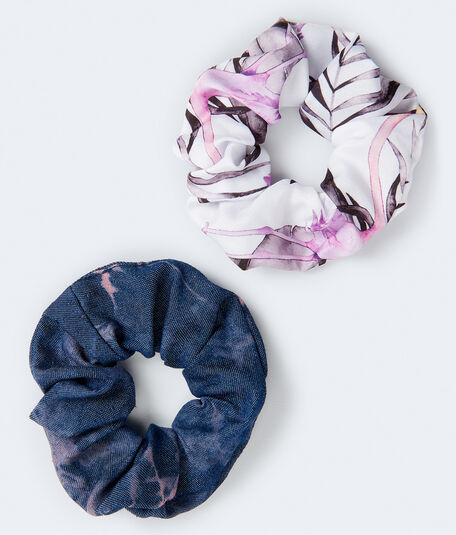 Flamingo & Tie-Dye Scrunchie 2-Pack