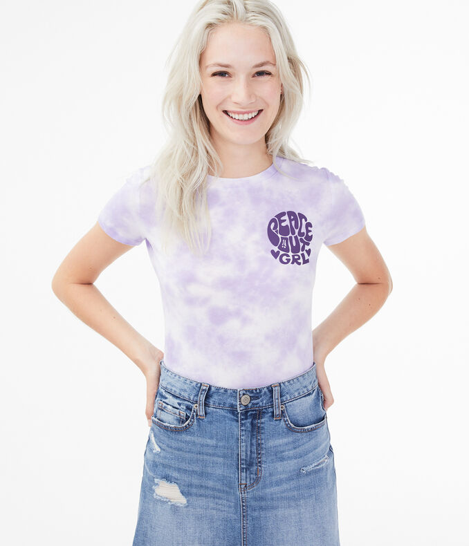 Peace Out Grl Tie-Dye Graphic Tee
