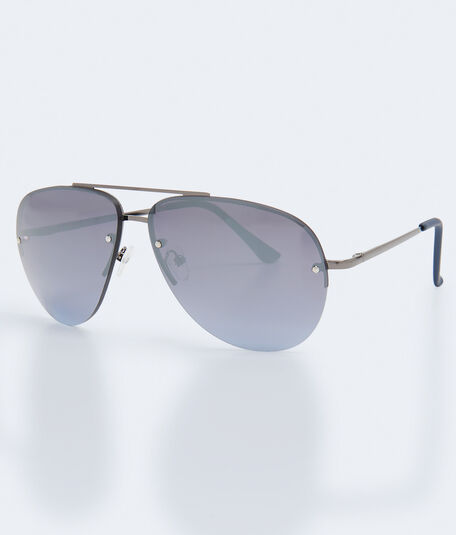 Mirrored Rimless Aviator Sunglasses