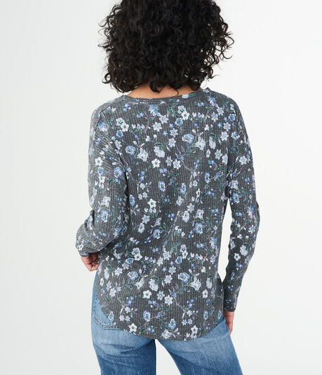 Long Sleeve Floral Waffle-Knit Top
