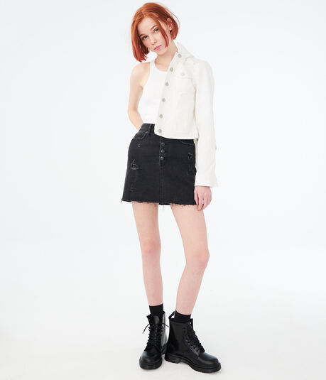 High-Rise Button-Front Denim Mini Skirt