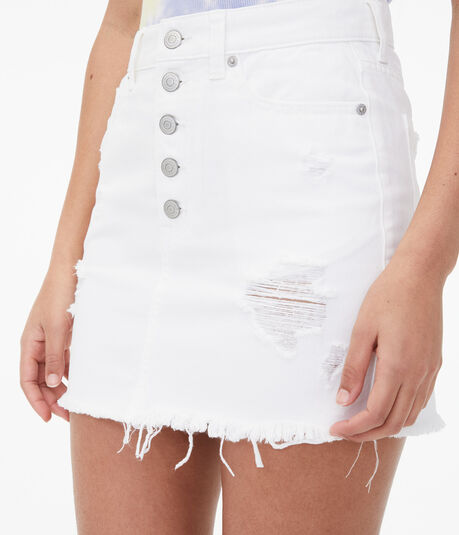 Real Denim High-Rise Exposed Button Mini Skirt