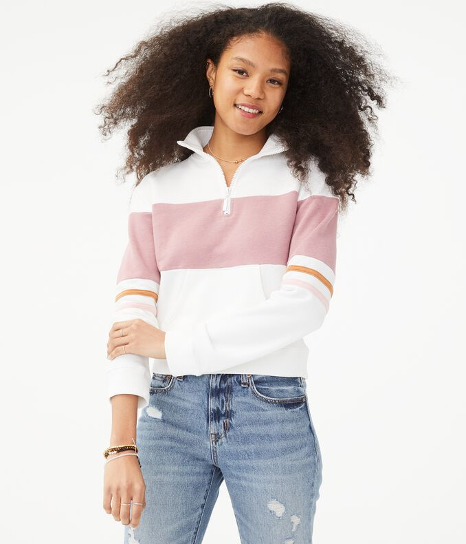 Colorblocked Half-Zip Sweatshirt