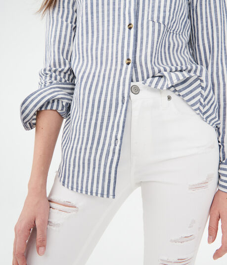 Long Sleeve Striped Woven Shirt