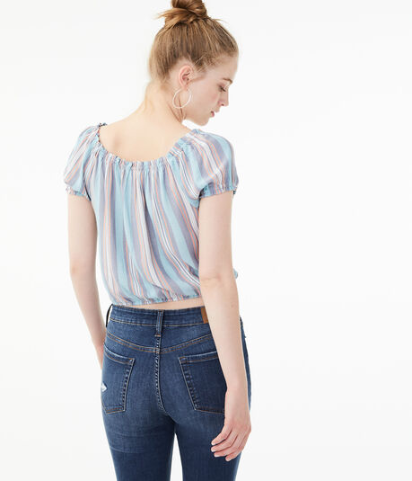 Striped Button-Front Peasant Top