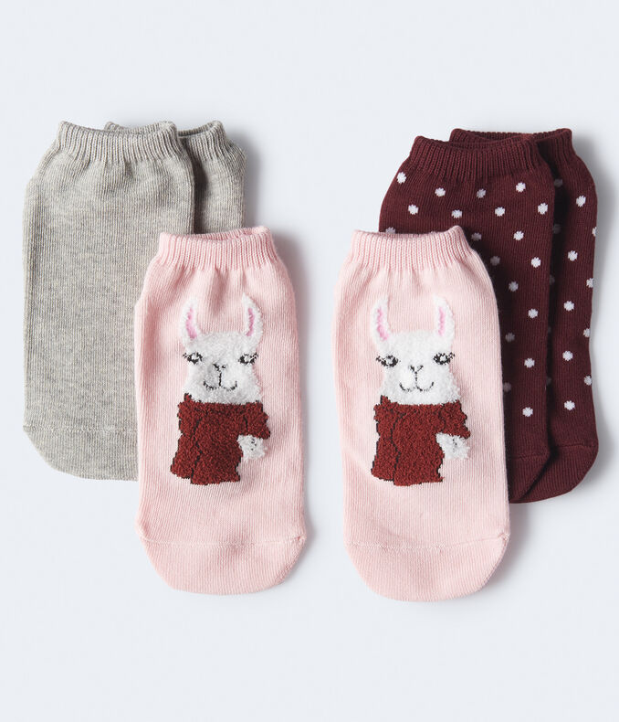 3-Pack Llama, Dot & Solid Ankle Socks