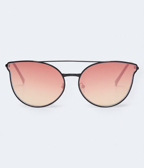 Top-Bar Mirrored Lens Sunglasses