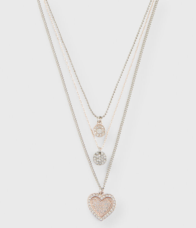 Two-Tone Heart Short-Strand Necklace 3-Pack