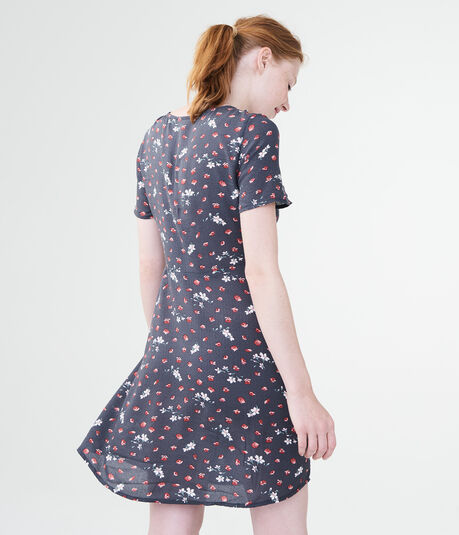 Printed V-Neck Button-Front Shirt Dress