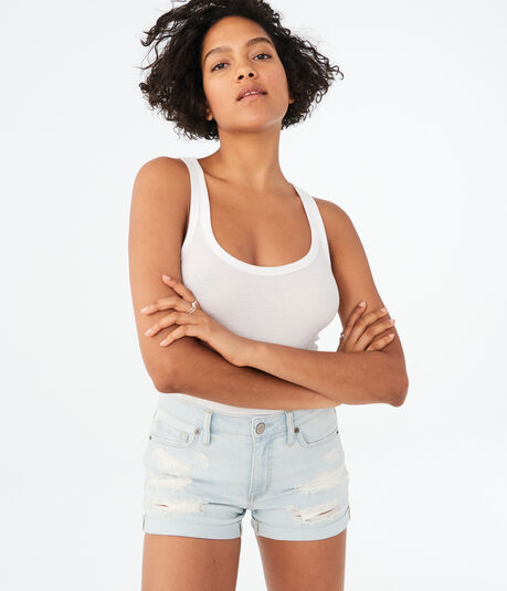 Seriously Stretchy High-Rise Destroyed Denim Midi Shorts