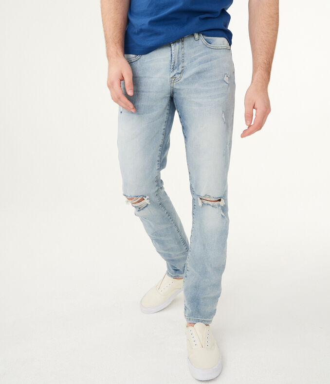 Slim Straight Bleach Wash Destroyed Stretch Jean