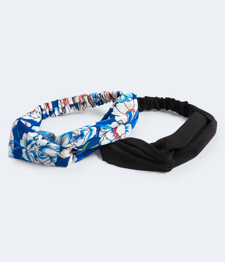 Tropical Floral & Solid Twist Headband 2-Pack