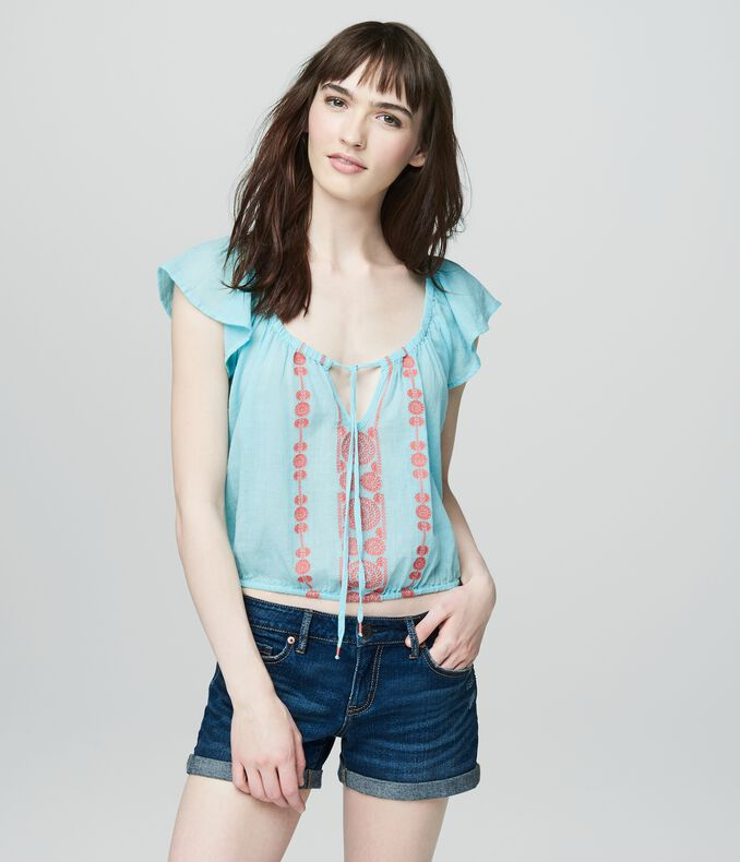 Cape Juby Embroidered Ruffle Cropped Peasant Top