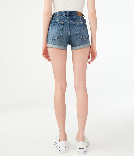 Flex Effects High-Rise Destroyed Denim Midi Shorts