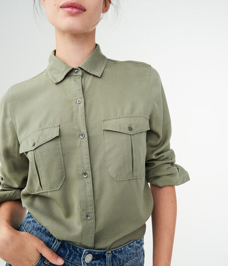 Long Sleeve Solid Utility Woven Shirt