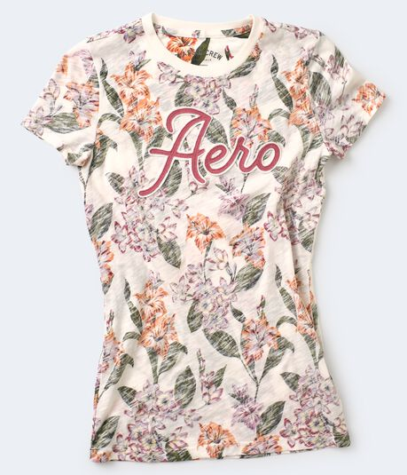 Aero Heathered Floral Appliqué Graphic Tee