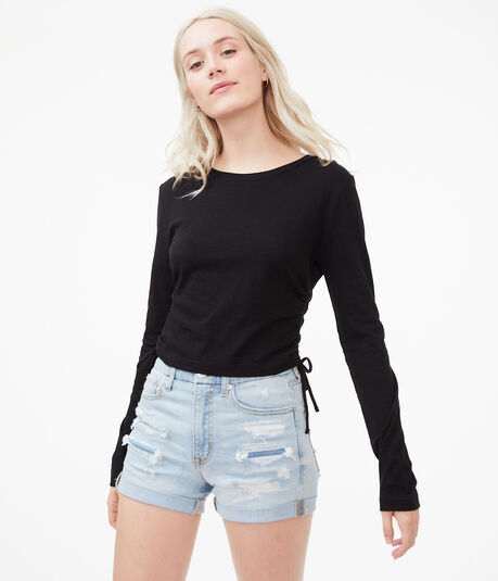 Long Sleeve Ruched Top***