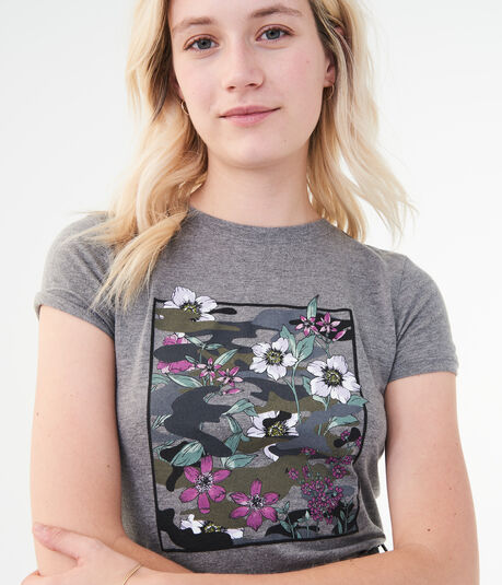 Floral Camo Square Graphic Tee