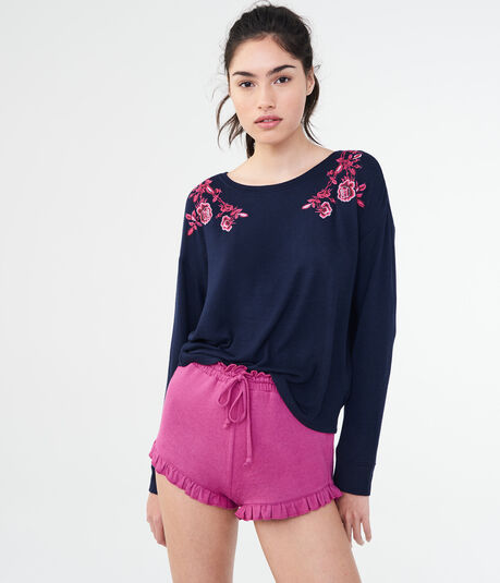 Long Sleeve Floral Embroidered Tee